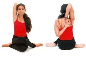 heart chakra of Cow face Pose Comukhasana